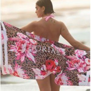 Victoria's Secret Cheetah Peony Beach Towel Dry X